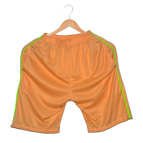 Polyester Men's sports shorts-Sandal  with lime green stripes